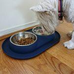 Bonza bol double pour chien et animaux, bols d'eau et nourriture en acier inoxydable avec unebase en silicone à l'épreuve des éclaboussures et des dérapages. Solution d'alimentation de première qualité pour les petits chiens et chats (bleu marine) de la m image 5 produit