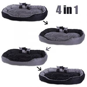 dibea Lit/Coussin/Canapé Lavable avec Coussin Réversible pour Chien Gris/Noir 110 x 80 x 23 cm de la marque dibea image 0 produit