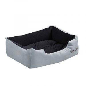 [en.casa] Panier pour chien - avec coussin réversible - tissu d'oxford / coton - 90 x 70 x 20 cm [Taille. XL] - Gris / Noir de la marque Encasa image 0 produit