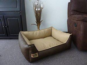 Hundebettenmanufaktur Panier pour chien en cuir synthétique Marron/beige 80 x 60 cm de la marque Hundebettenmanufaktur image 0 produit