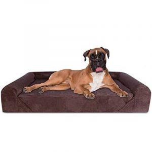 KOPEKS Canapé-lit pour chien en mousse à mémoire de forme orthopédique de luxe 127 x 85 x 25 cm – XL - Marron de la marque KOPEKS image 0 produit