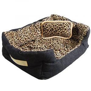 Lit pour animaux domestiques Niclas S de eyepower panier corbeille canapé coussin amovible pour Chien Chiot Chat motif fourrure de léopard env 52x40x16cm base caoutchouté de la marque Eyepower image 0 produit