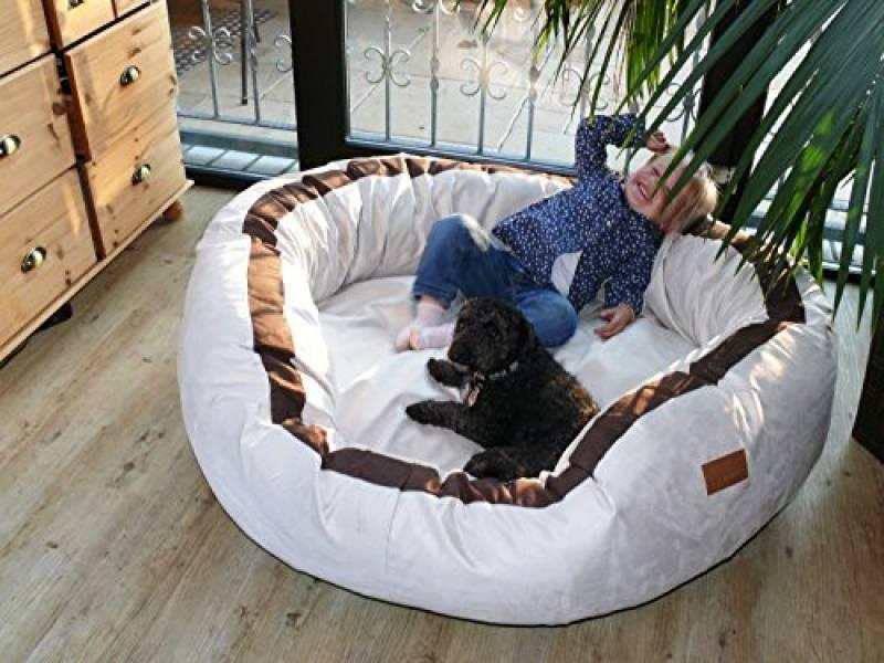 tierlando la5 05 lana canap lit pour chien velours mega dick capitonne taille xl 120cm crme de la marque tierlando - Canape Pour Grand Chien