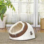 Maison luxe de chien Lit pour chien chiots Grotte Paniere chat Corbeille pour petit animal chaton lapin double usage s avec coussin épais 5 couleurs Beige de la marque Pawz Road image 3 produit