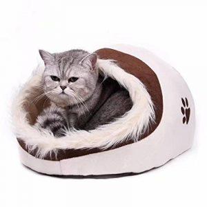 Maison luxe de chien Lit pour chien chiots Grotte Paniere chat Corbeille pour petit animal chaton lapin double usage s avec coussin épais 5 couleurs Beige de la marque Pawz Road image 0 produit