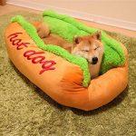 Maison Niche de Chien en Peluche avec Coussin Amovible Lit Panier très Souple en forme de Hot-dog très Original pour Chien Chat etc 63*47*21CM de la marque OMGO image 1 produit