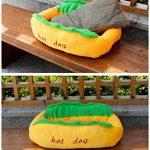 Maison Niche de Chien en Peluche avec Coussin Amovible Lit Panier très Souple en forme de Hot-dog très Original pour Chien Chat etc 63*47*21CM de la marque OMGO image 5 produit