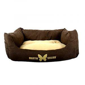 Martin-Sellier - Corbeille domino pour chien & chat - Suédine marron & crème (60cm x 45cm) de la marque Martin Sellier image 0 produit