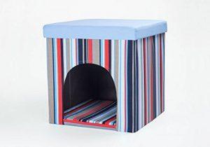 Niche pour chien / chat et tabouret, rayures bleues / multicolores, 50x50x50 cm de la marque SAUERLAND image 0 produit