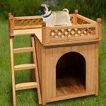Niche villa pour chiens et/ou chats en bois avec terrasse - brun - 66x53x64cm de la marque Deuba image 1 produit