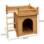 Niche villa pour chiens et/ou chats en bois avec terrasse - brun - 66x53x64cm de la marque Deuba image 2 produit