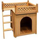 Niche villa pour chiens et/ou chats en bois avec terrasse - brun - 66x53x64cm de la marque Deuba image 3 produit