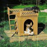 Niche villa pour chiens et/ou chats en bois avec terrasse - brun - 66x53x64cm de la marque Deuba image 4 produit