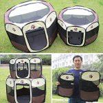 Qianle Parc Enclos Cage de Chien Octogonal Panier Niche pour Chiots Pliable café S de la marque Qianle image 5 produit