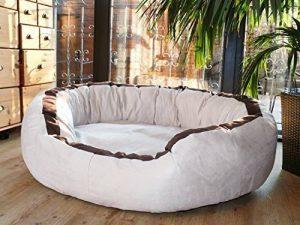 tierlando® LA3-05 LANA Canapé-lit pour chien de très grande taille en velours et rembourré, Taille M 80 cm, couleur crème de la marque tierlando image 0 produit