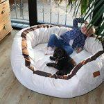 tierlando® LA3-05 LANA Canapé-lit pour chien de très grande taille en velours et rembourré, Taille M 80 cm, couleur crème de la marque tierlando image 1 produit