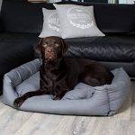 Panier pour chien, moderne, gris, 120x80 cm, avec coussin réversible, coussin pour chien, lavable de la marque SAUERLAND image 4 produit